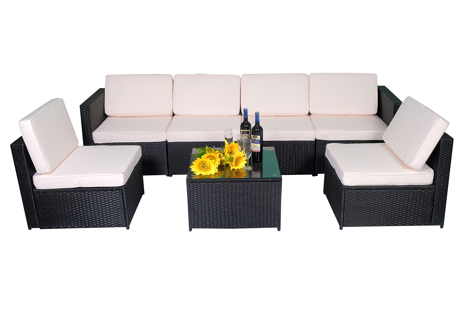 mcombo 14tlg poly rattan gartenm bel sitzgarnitur sitzgruppe sofa ebay. Black Bedroom Furniture Sets. Home Design Ideas