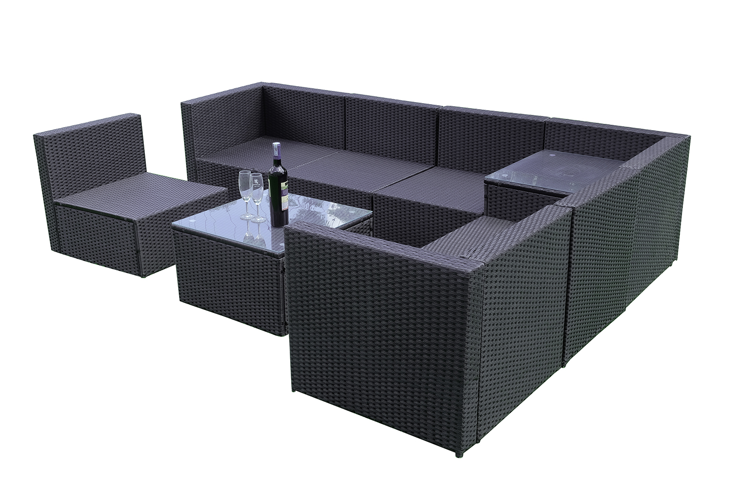 mcombo 20tlg poly rattan gartenm bel sitzgarnitur. Black Bedroom Furniture Sets. Home Design Ideas