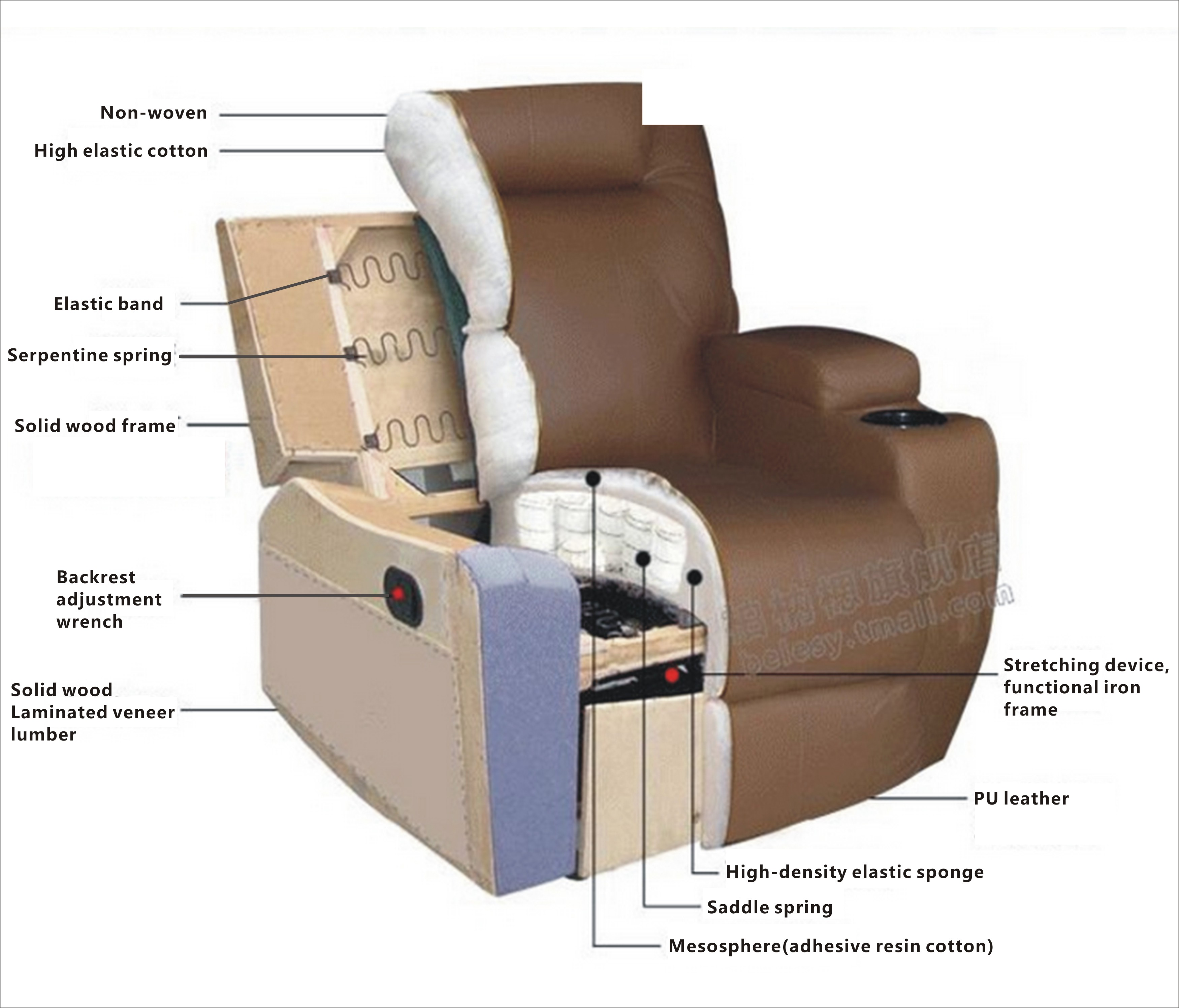 Massage Recliner Sofa Vibrating Heated W Control Leather