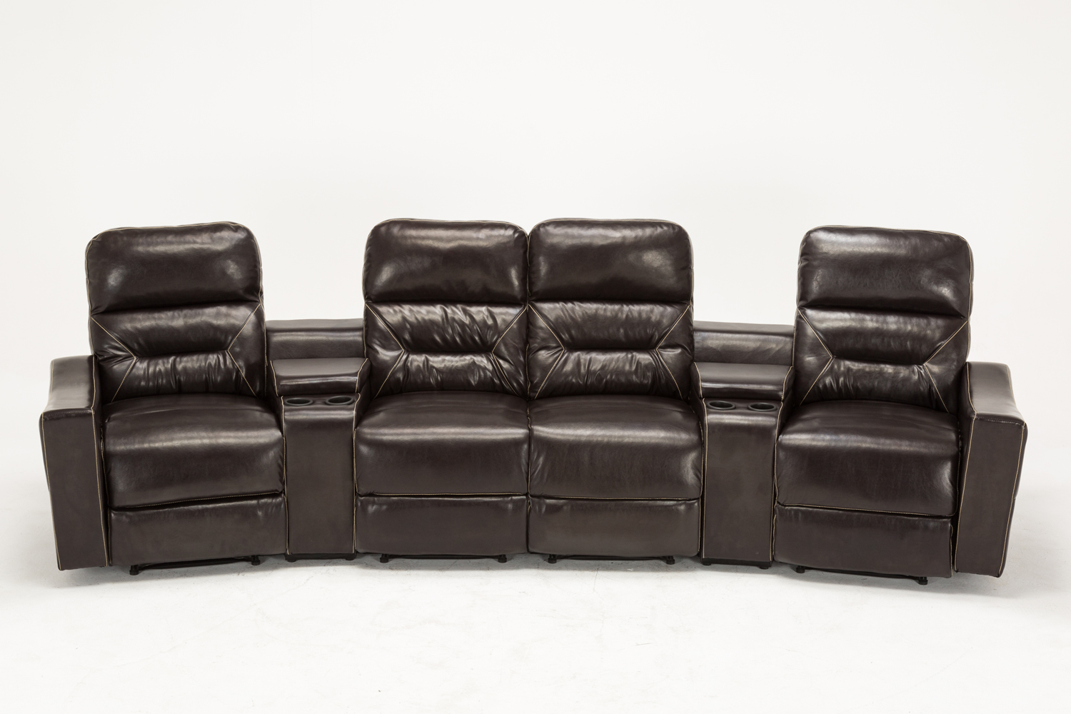 M bo Home Theater Leather 4 Set Recliner Media Sofa w Cup Holder 7095 Brown
