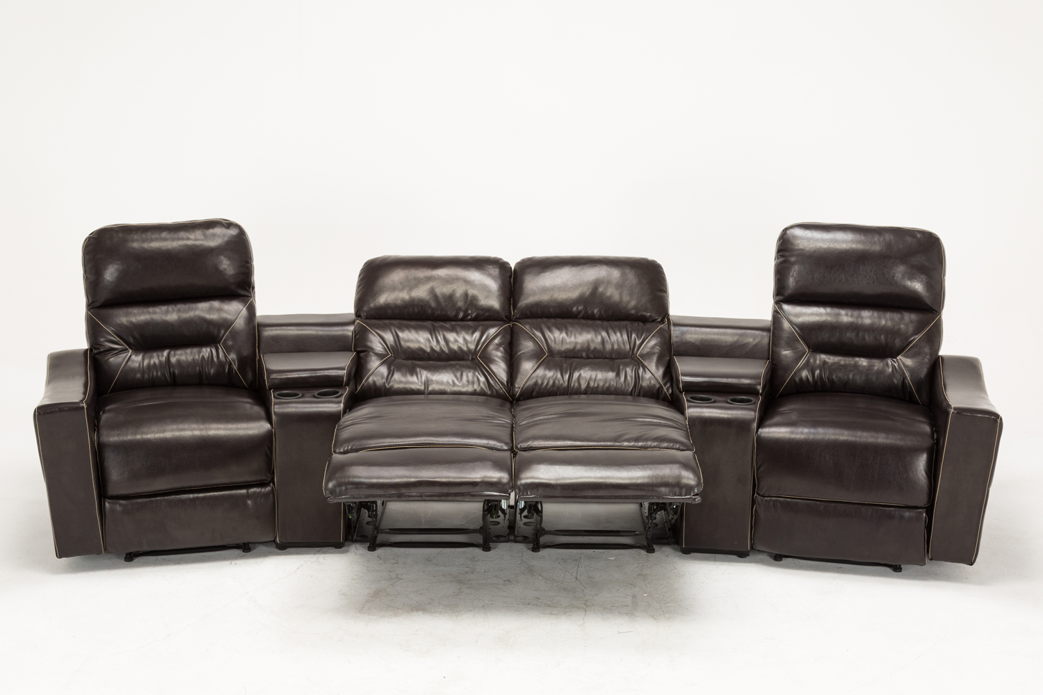 Mcombo Home Theater Leather 4 Set Recliner Media Sofa W