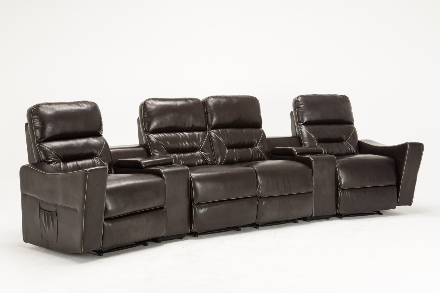 Mcombo 4 seat leather home theater recliner media sofa w cup holder 7095 brown ebay Loveseat with cup holders