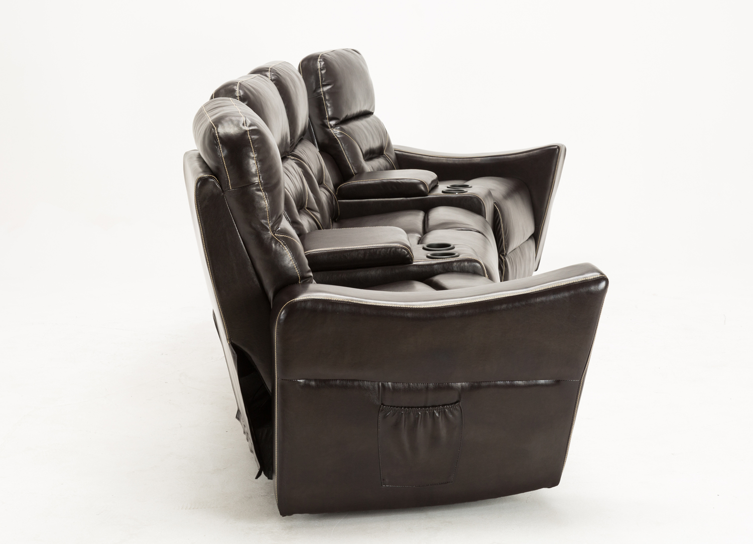 Mcombo 4 Seat Leather Home Theater Recliner Media Sofa W