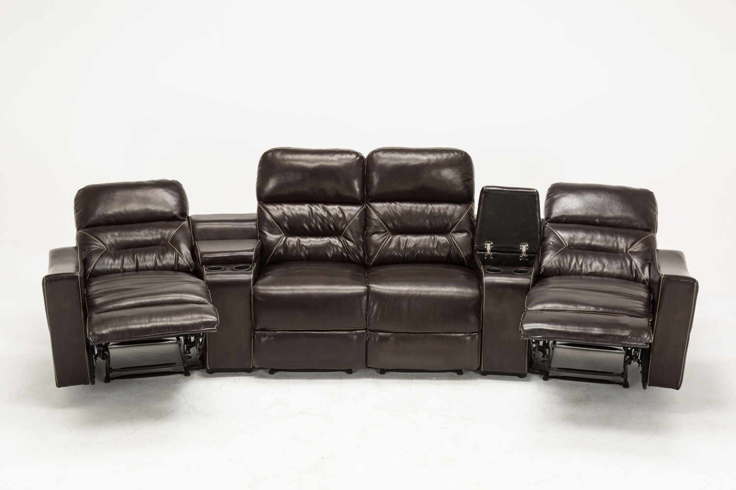 Mcombo brown vibrating 4pc home theater recliner media sofa set cup holder 7096 ebay Loveseat theater seating