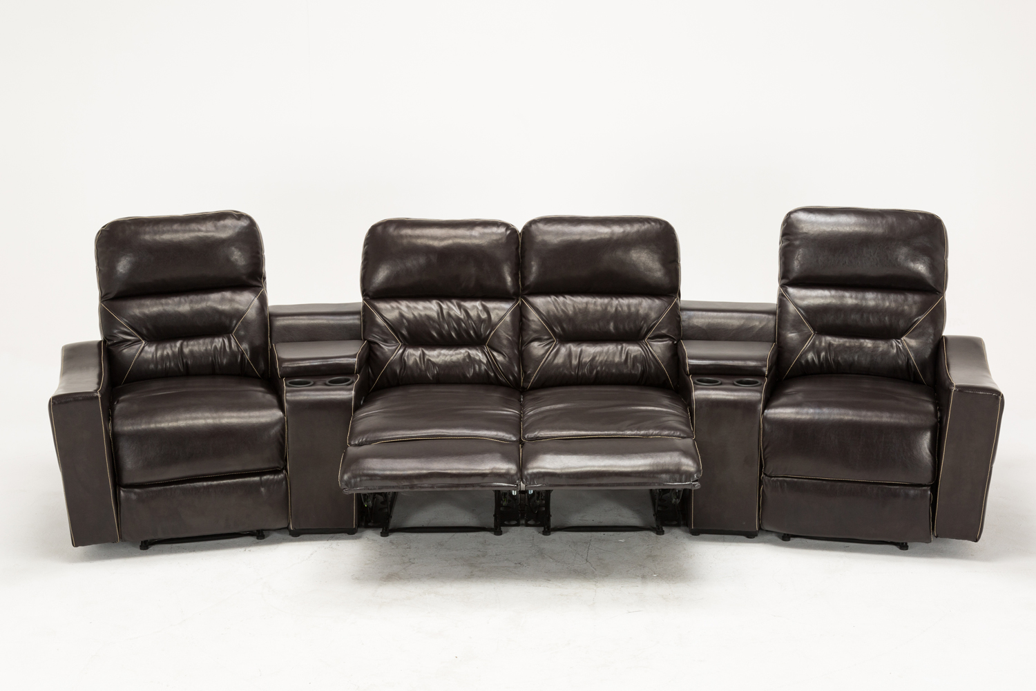 Mcombo brown vibrating 4pc home theater recliner media sofa set cup holder 7096 ebay Loveseat with cup holders