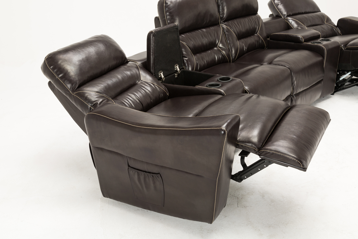 Mcombo Brown Vibrating 4pc Home Theater Recliner Media Sofa Set Cup Holder 7096 Ebay