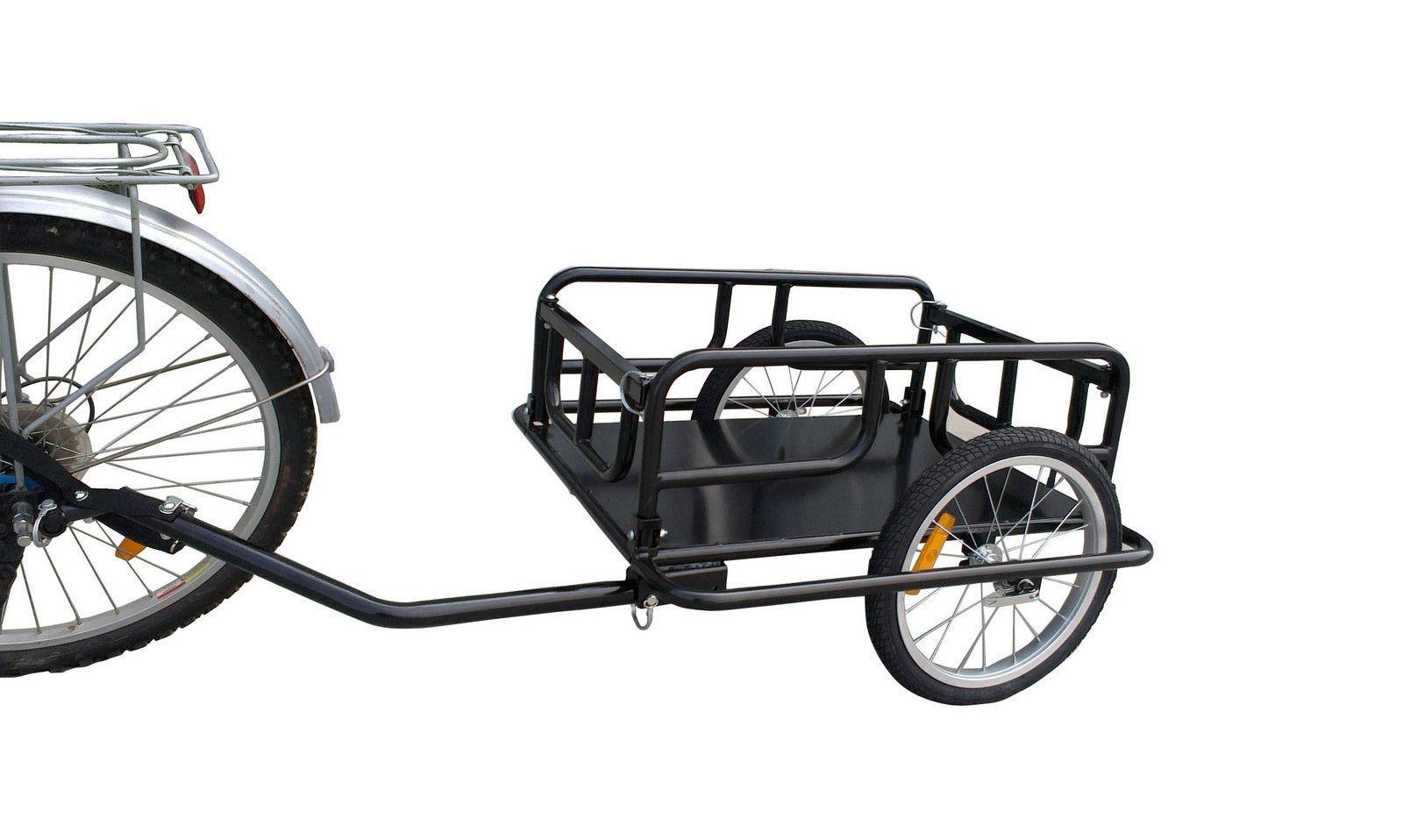 Bike Cargo Carrier : Black foldable bicycle bike cargo trailer cart large