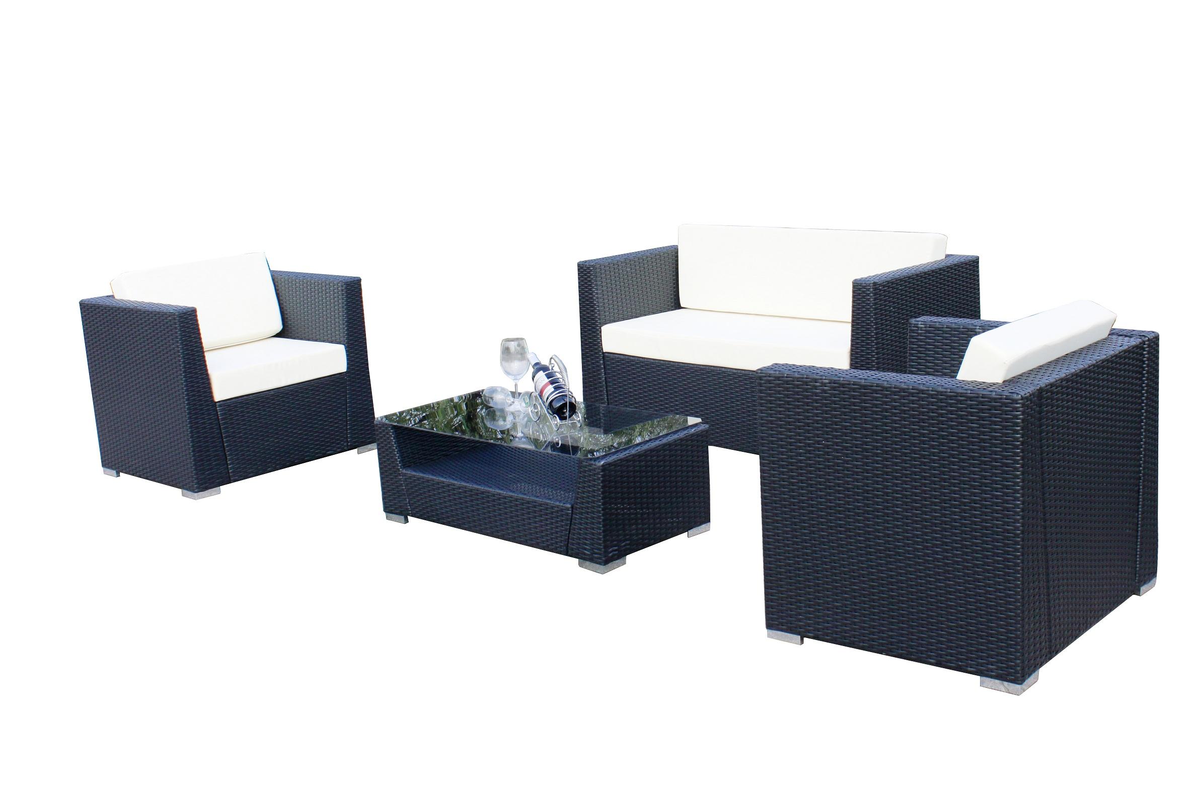 4 Pcs Luxury Wicker Patio Sectional Indoor Outdoor Sofa