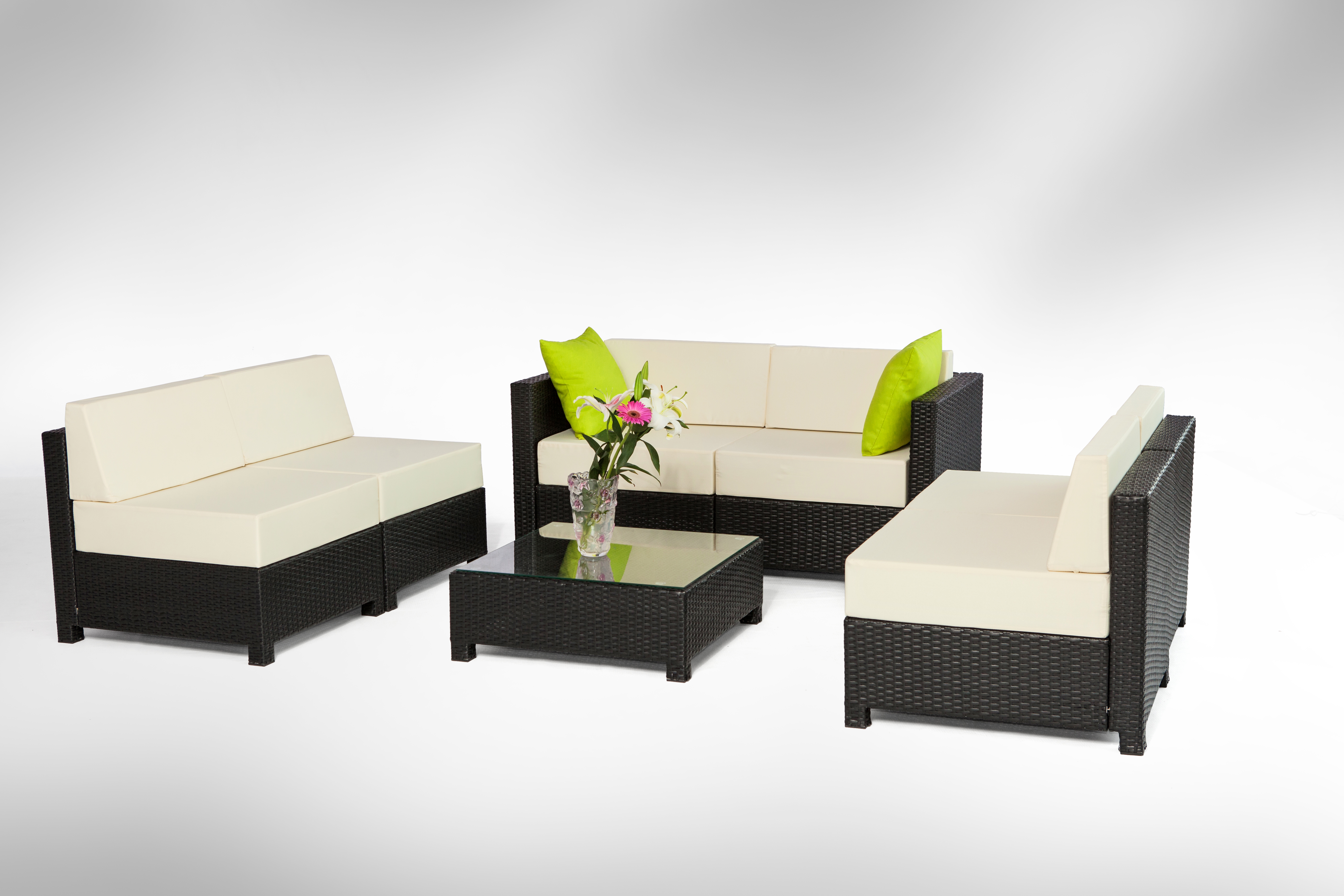 M bo 7pcs Black Wicker Patio Sectional Indoor Outdoor Sofa Furniture Set Co