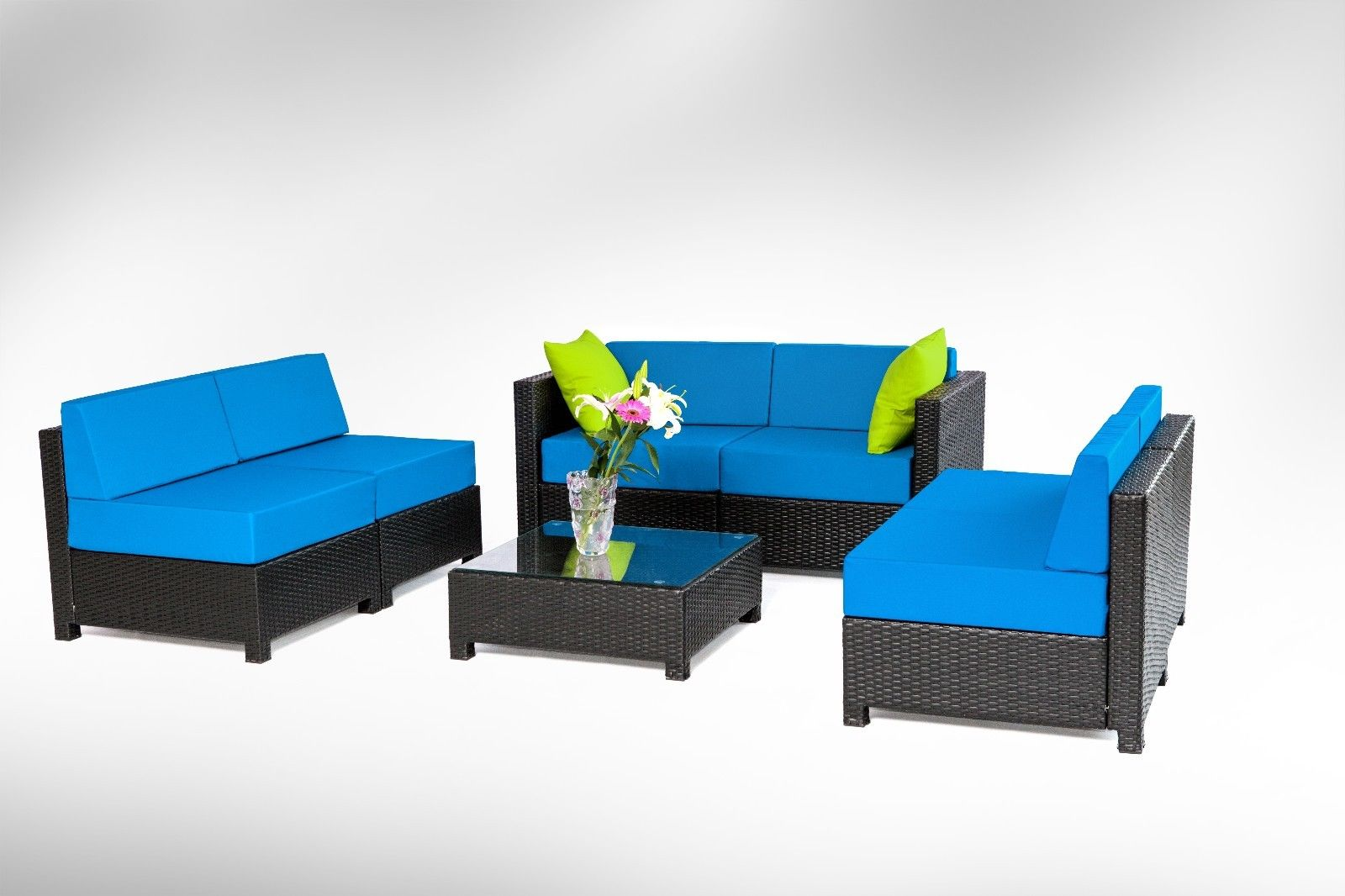 7pc Luxury Black Wicker Patio Sectional Indoor Outdoor