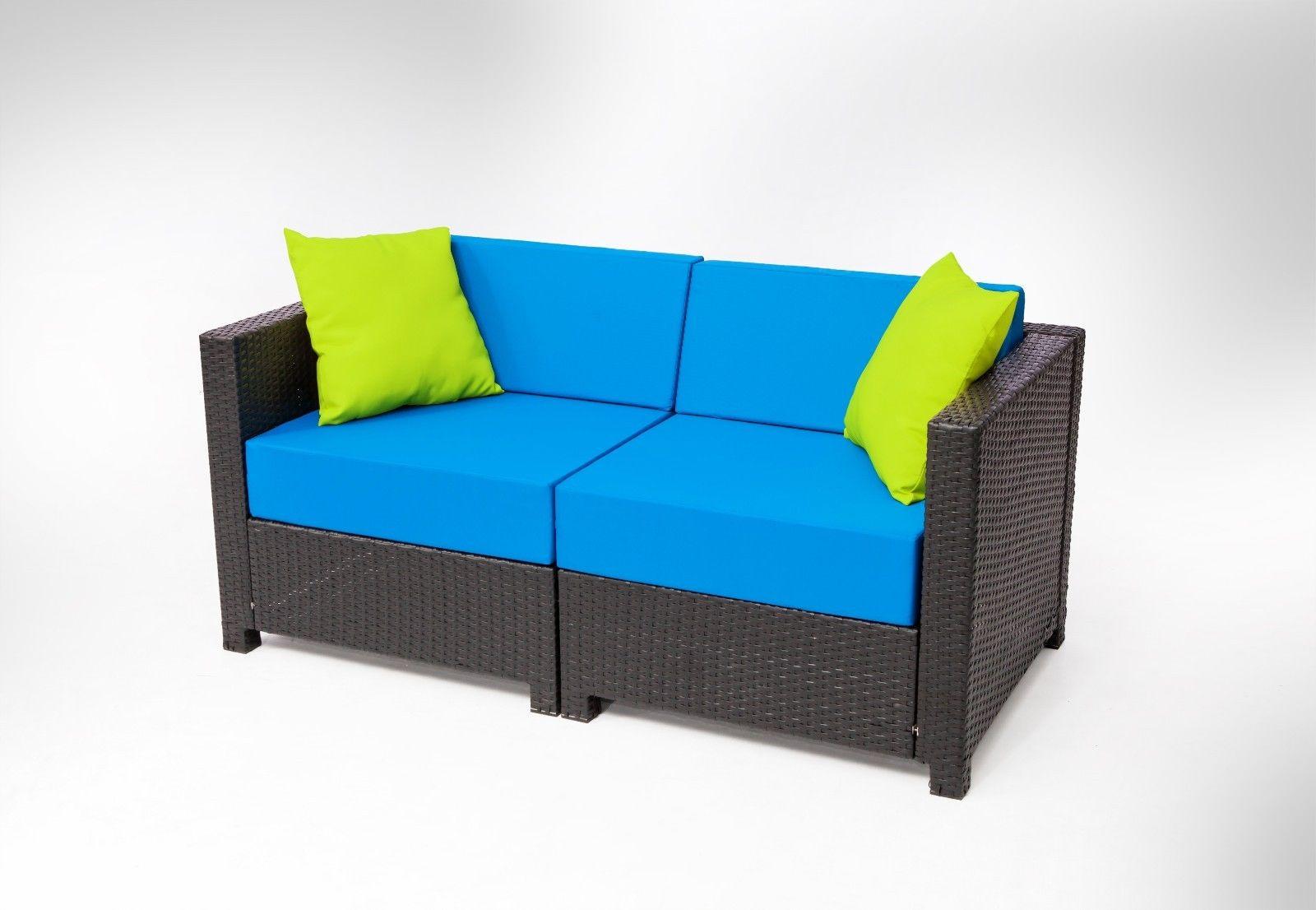 7pc luxury black wicker patio sectional indoor outdoor for Indoor outdoor sectional sofa
