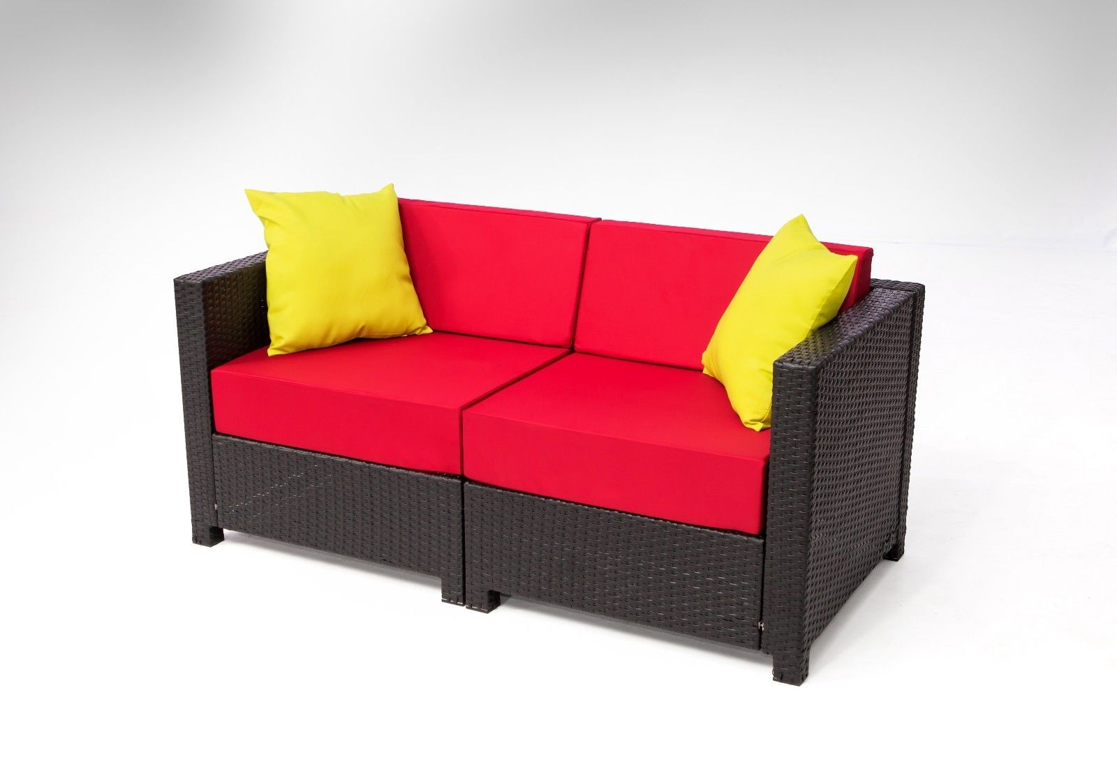 MCombo 7 Pcs Black Wicker Patio Sectional Indoor Sofa Furniture Set Burgund