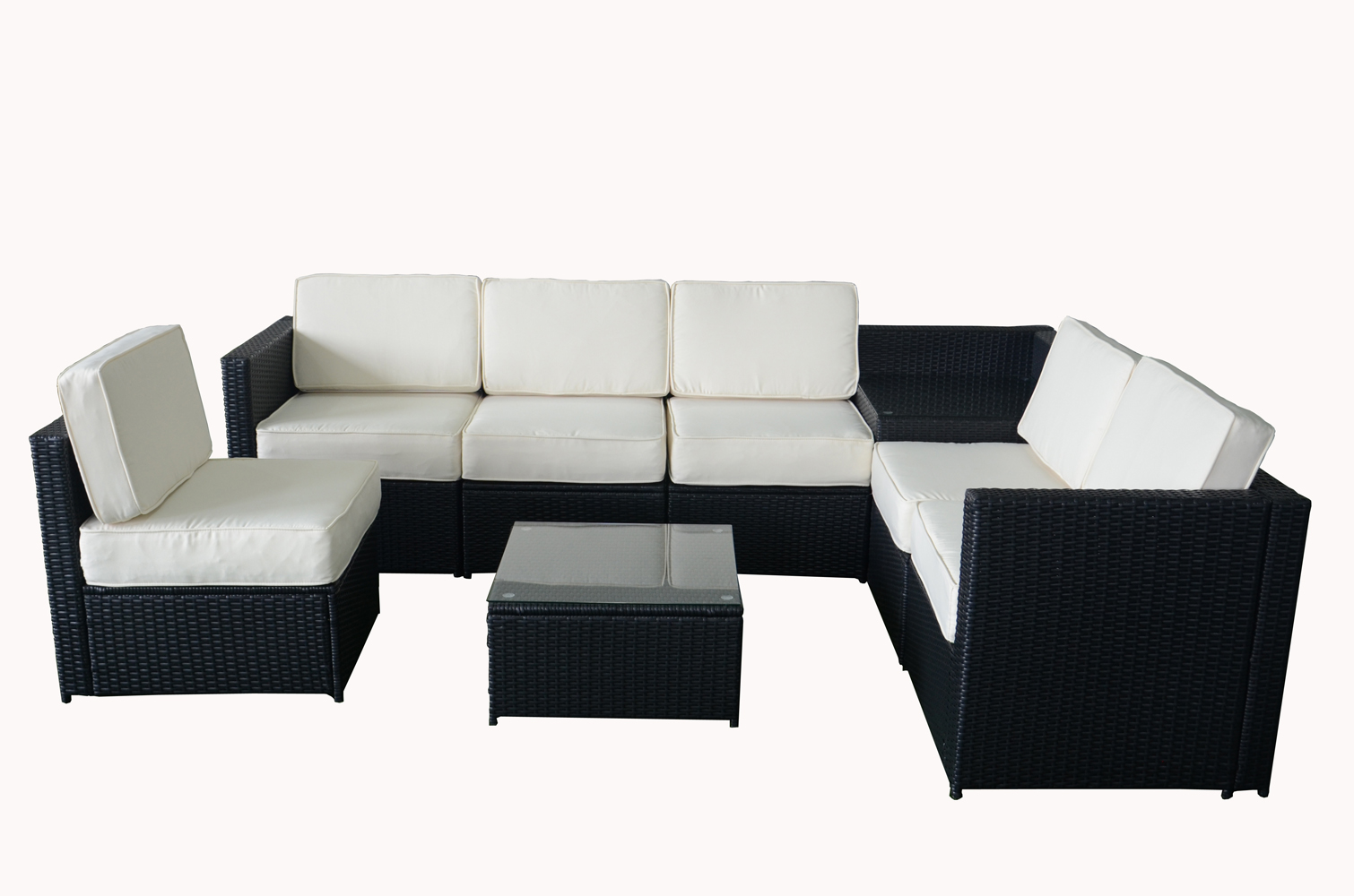 Black Wicker Patio Sectional Black Wicker Sofa Outdoor Sitting Area Transitional Porch Mcombo
