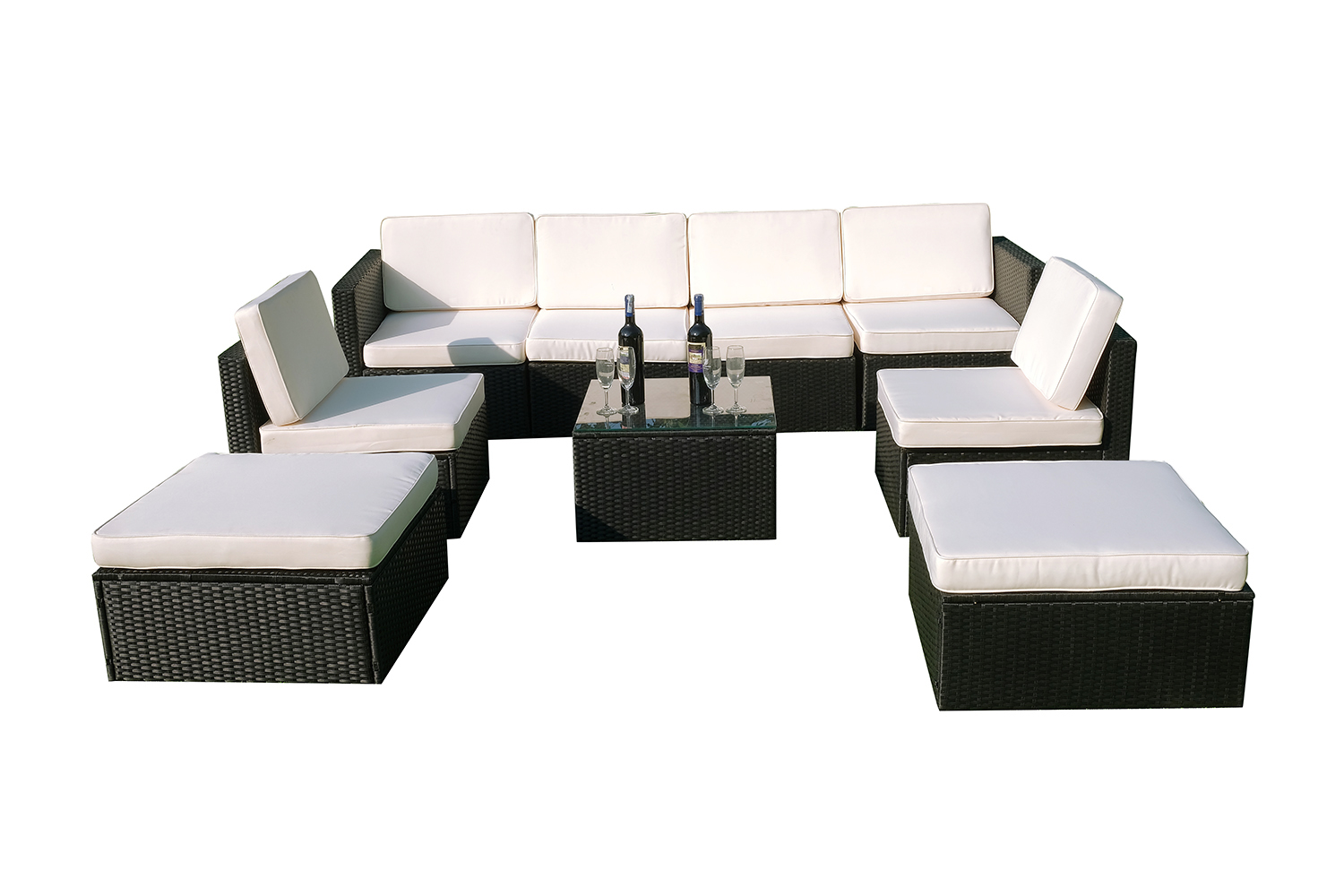 Mcombo 9pcs Black Wicker Patio Sectional Outdoor Sofa Furniture Set 6088 1009 Ebay