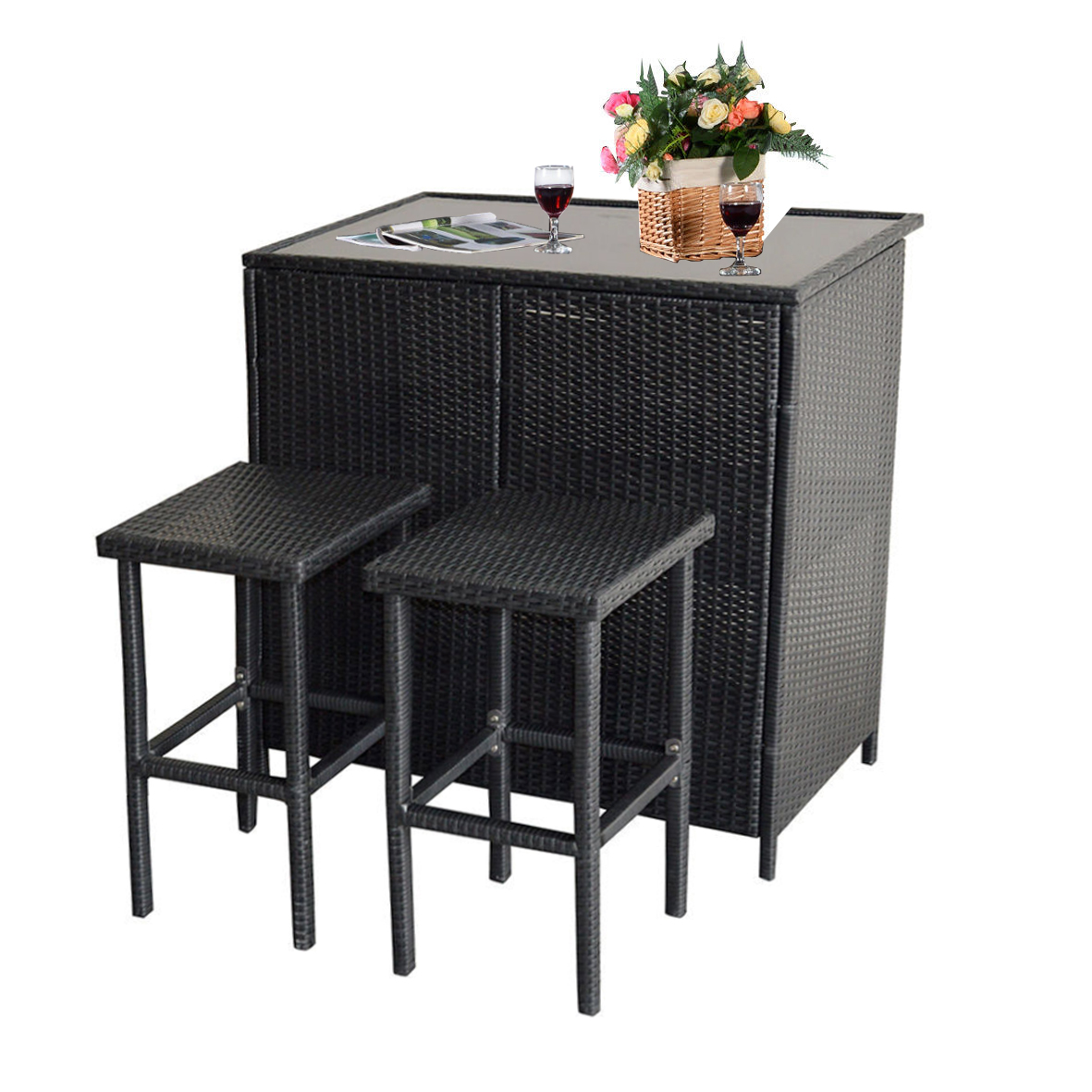 Black Bar Set: Mcombo 3PCS Black Wicker Bar Set Patio Outdoor Table & 2