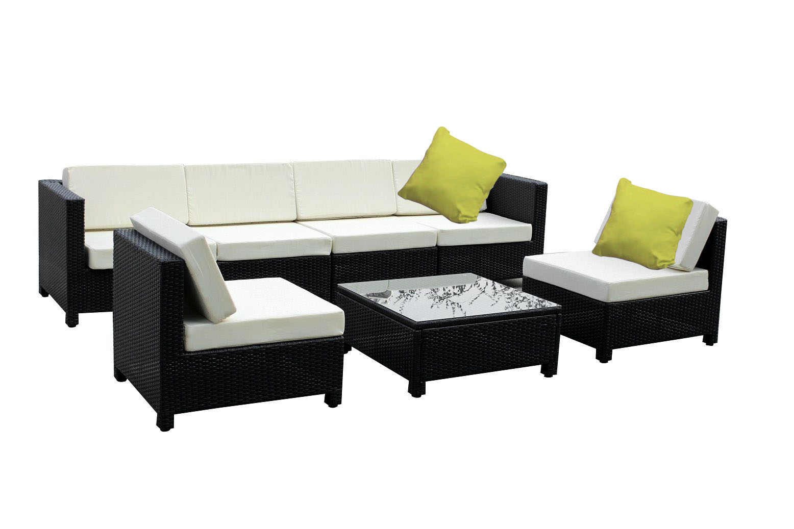 7 PC Luxury Wicker Patio Sectional Indoor Outdoor Sofa Furniture Set White Cr