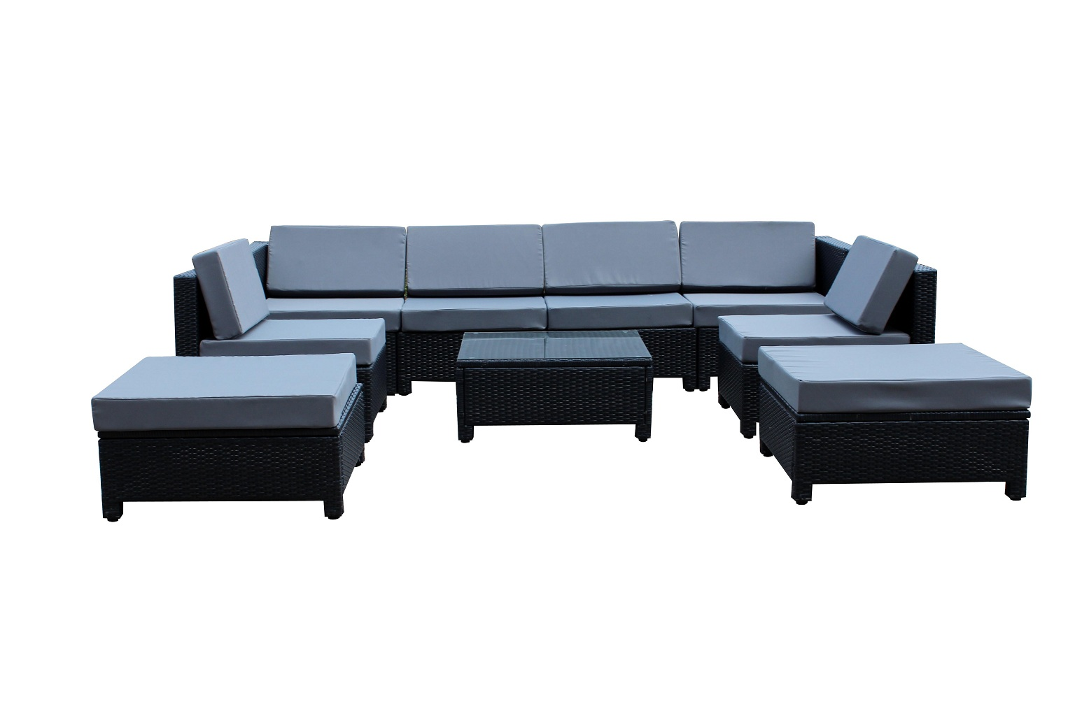 9pcs Luxury Black Wicker Patio Sectional Indoor Outdoor