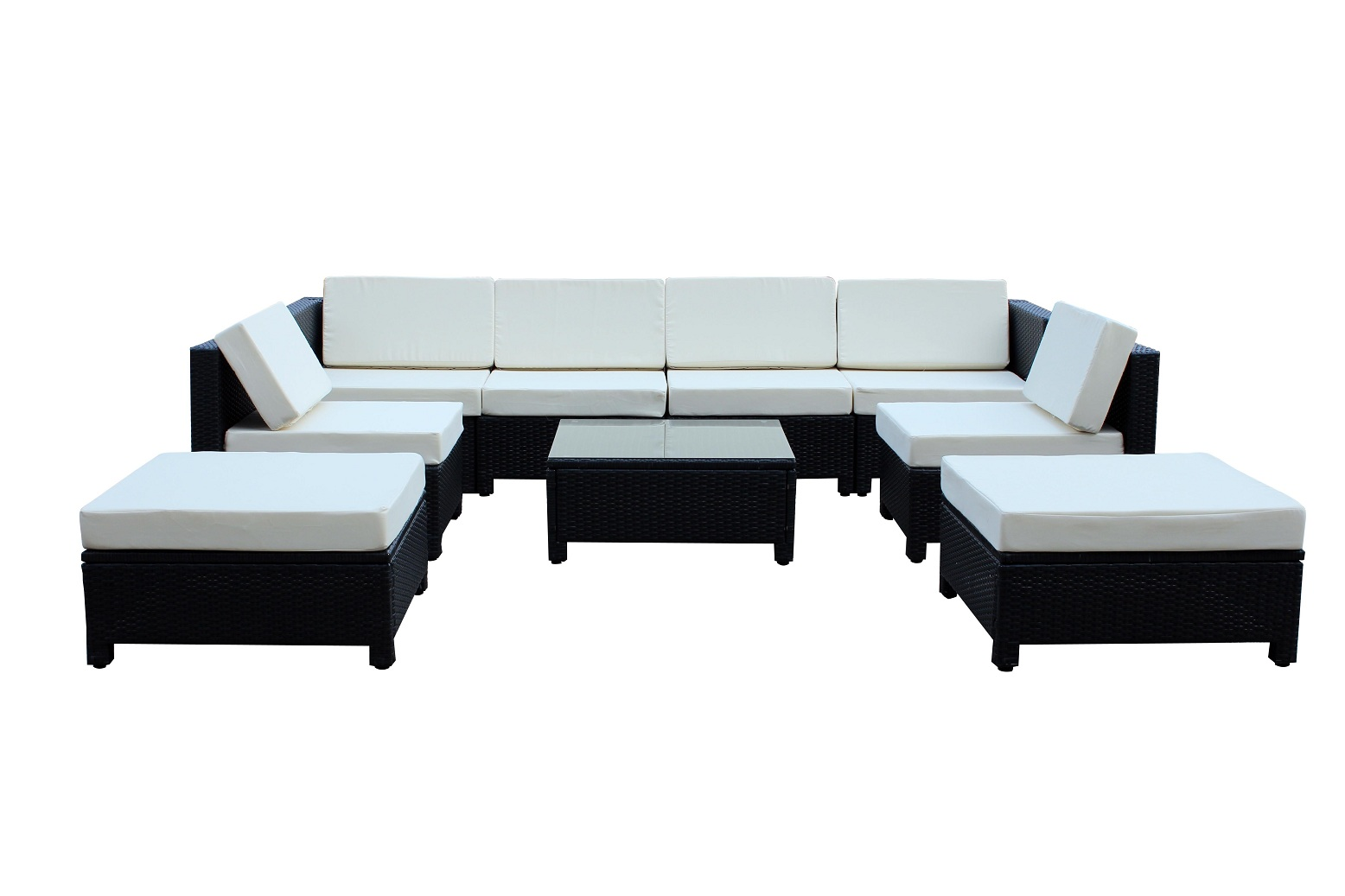 9 pc Luxury Wicker Patio Sectional Indoor Outdoor Sofa